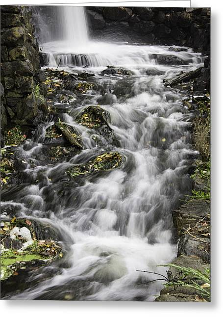 Greeting Card featuring the photograph Longfellow Grist Mill Waterfall by Betty Denise