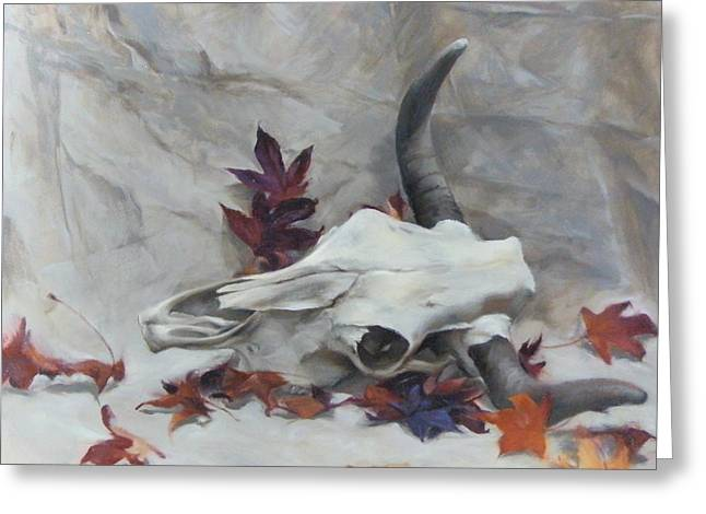 Longhorn With Leaves Greeting Card