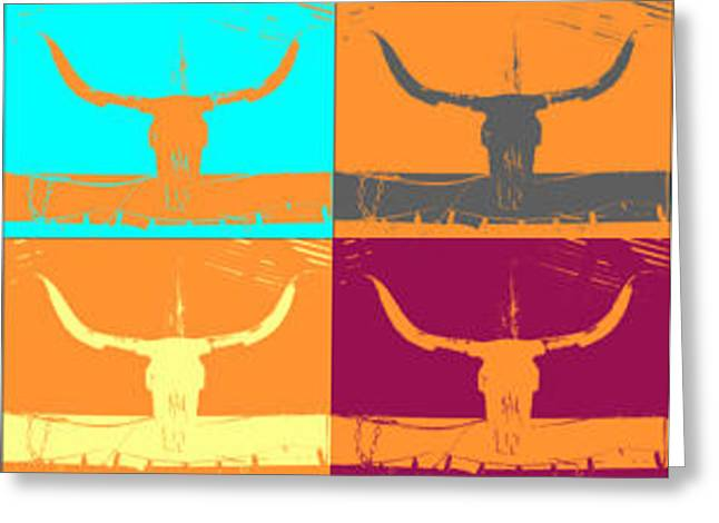 Longhorns Greeting Card by Amber Hennessey