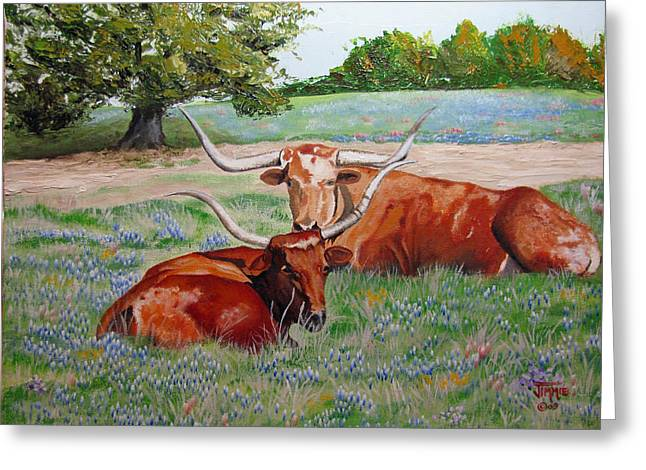 Greeting Card featuring the painting Longhorns In Bluebonnet Field by Jimmie Bartlett