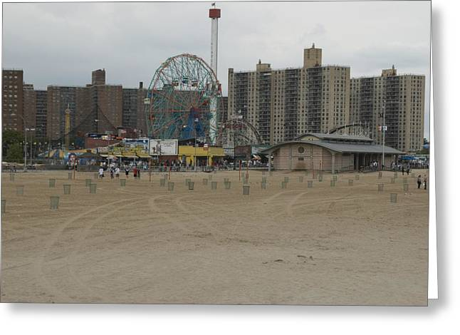 Looking Across The Beach To The Ferris Greeting Card by Todd Gipstein