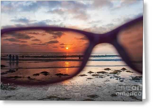 Looking At Life Through Rose Colored Glasses Greeting Card by Sonny Marcyan