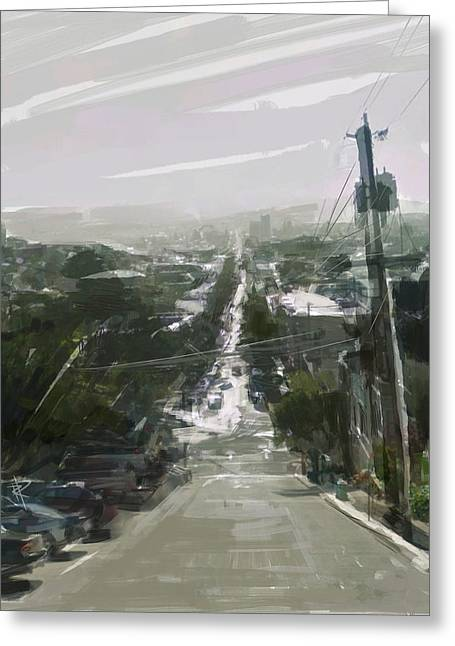 Looking Down Dolores Greeting Card by Russell Pierce