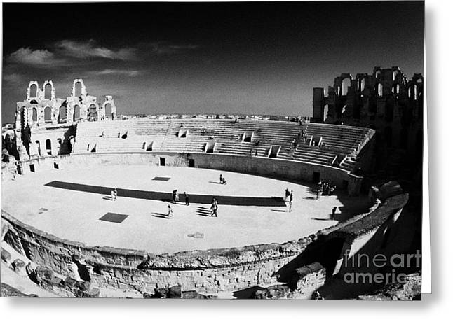 Looking Down On Main Arena Of Old Roman Colloseum El Jem Tunisia Greeting Card