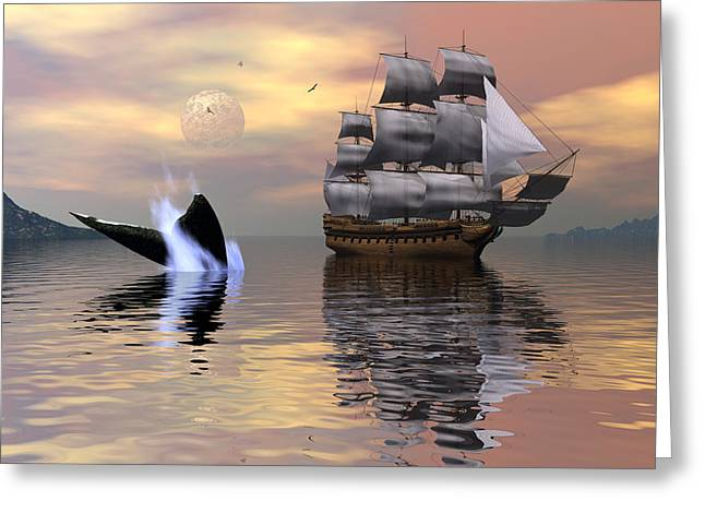Looking For Moby Dick Greeting Card by Claude McCoy