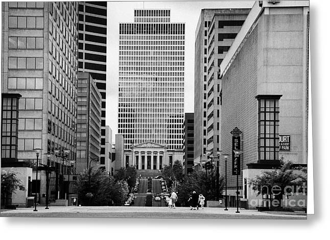 Looking Up Deaderick Street Towards War Memorial Plaza And The William Snodgrass Tennessee Tower Greeting Card by Joe Fox