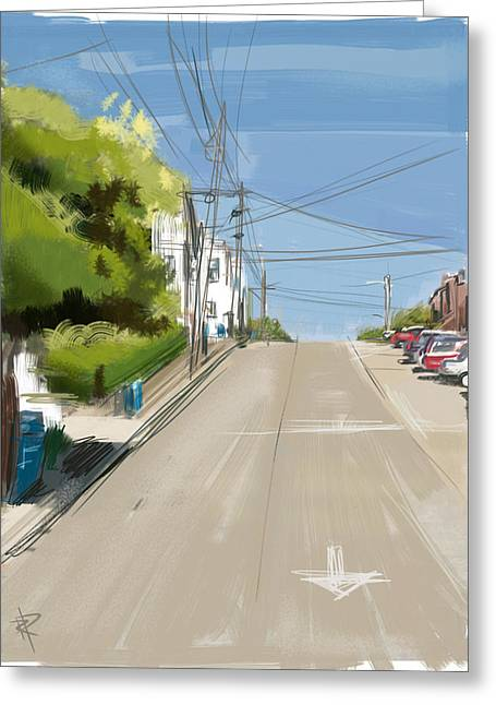 Looking Up Dolores Street Greeting Card by Russell Pierce