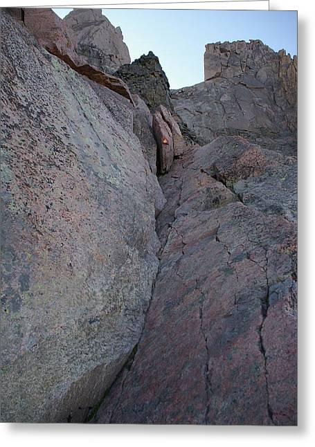Looking Up The Ledges On Longs Peak Greeting Card by Cynthia Cox Cottam