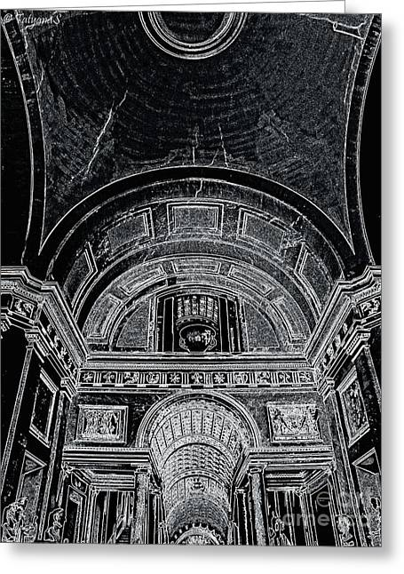 Looking Up. Vatican. Black Greeting Card by Tanya  Searcy