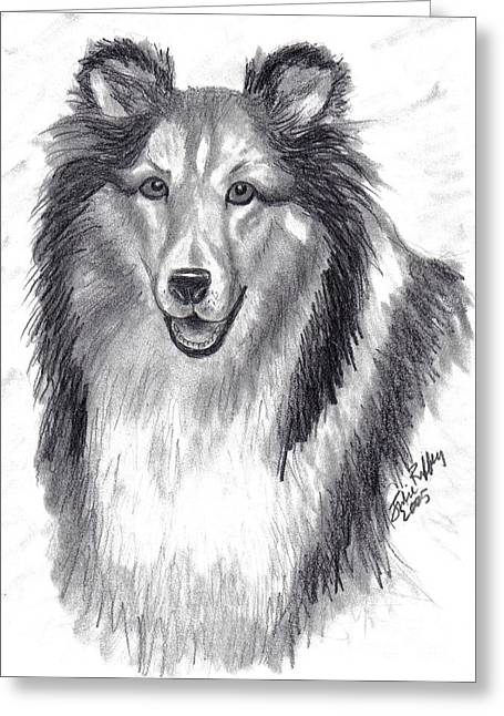 Greeting Card featuring the drawing Looks Like Lassie by Julie Brugh Riffey