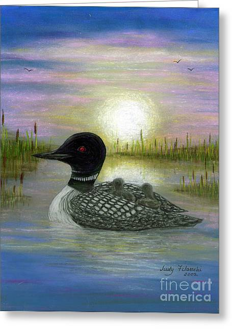 Loon Babies On Mother's Back Judy Filarecki Greeting Card