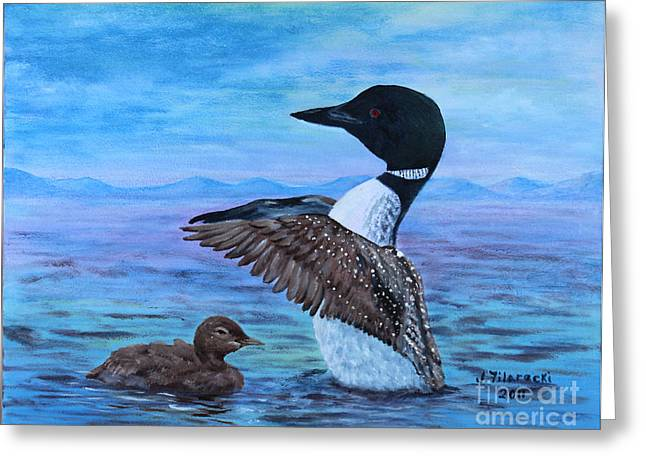Loon Mother And Baby Greeting Card