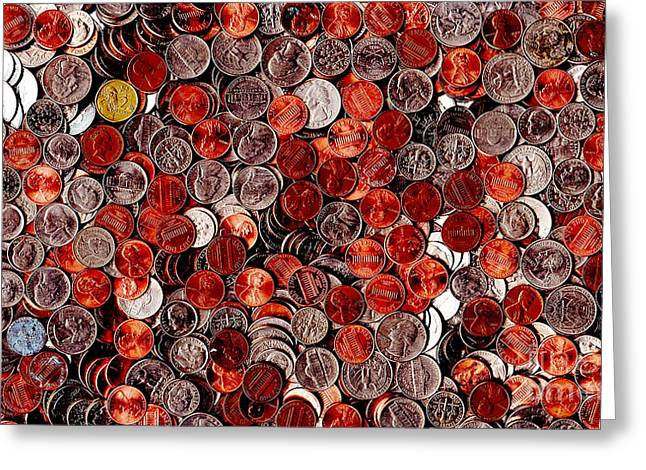 Loose Change . 9 To 16 Proportion Greeting Card by Wingsdomain Art and Photography