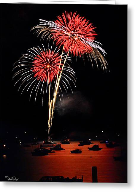 Lopez Island Fireworks 3 Greeting Card by David Salter