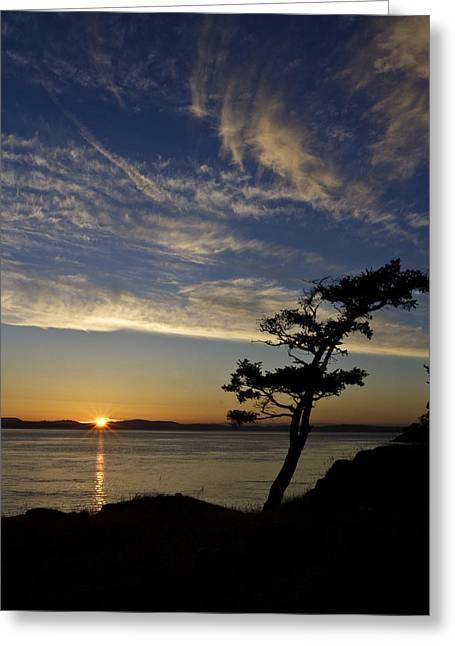 Lopez Island Sunset Greeting Card by Tony Locke