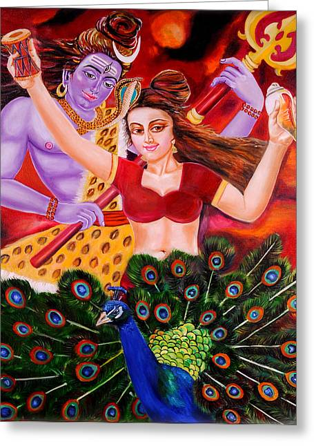 Lord Shiva-parvati Dancing Greeting Card by Nirendra Sawan