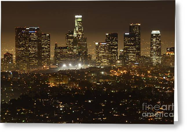 Los Angeles Skyline At Night Greeting Card by Bob Christopher