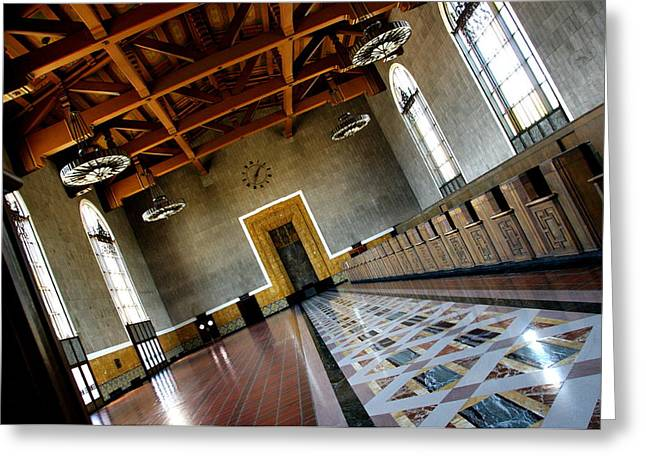 Los Angeles Union Station Terminal Greeting Card by Jeff Lowe