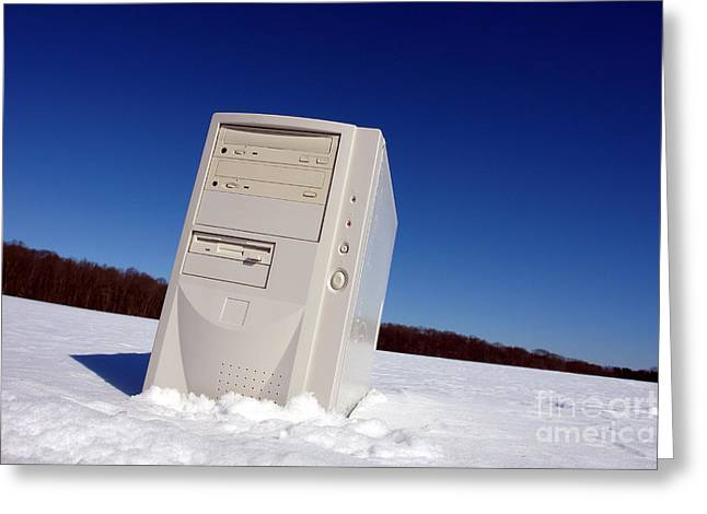Lost Computer In Snow Greeting Card by Olivier Le Queinec