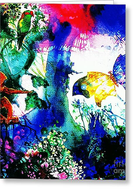 Greeting Card featuring the mixed media Lost Paradise by Hartmut Jager