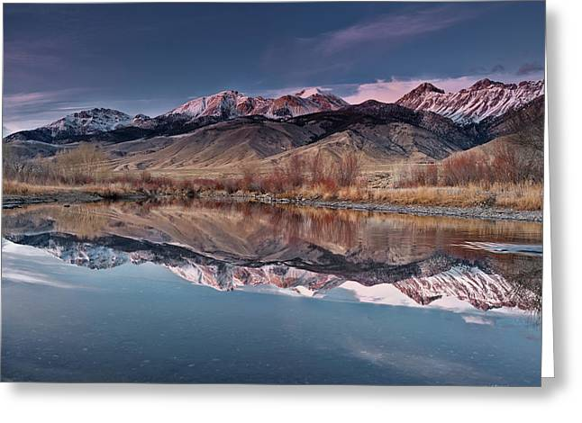Lost River Range Winter Reflection Greeting Card by Leland D Howard