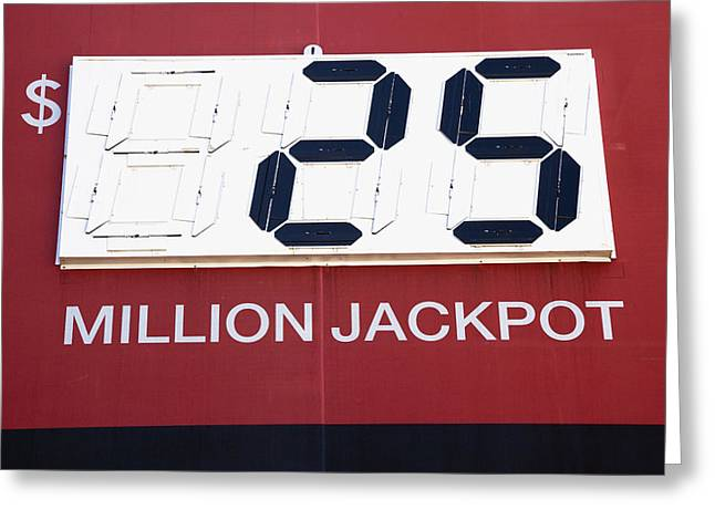 Lottery Sign With Winning Value Greeting Card by Nathan Griffith