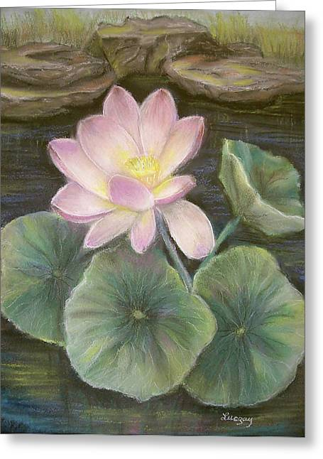 Greeting Card featuring the painting Lotus by Luczay