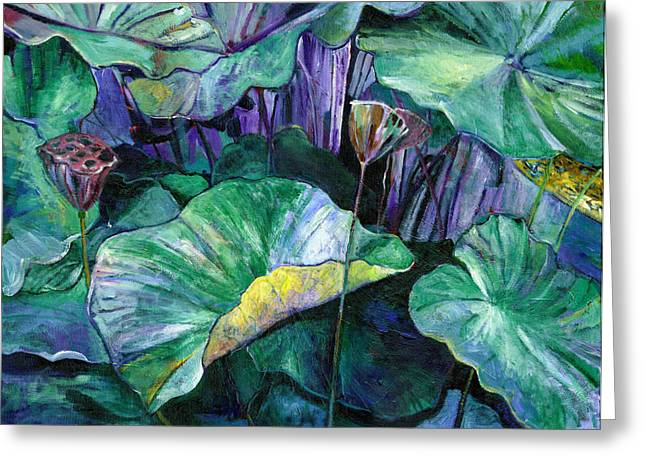 Lotus Pond Greeting Card by Carol Mangano