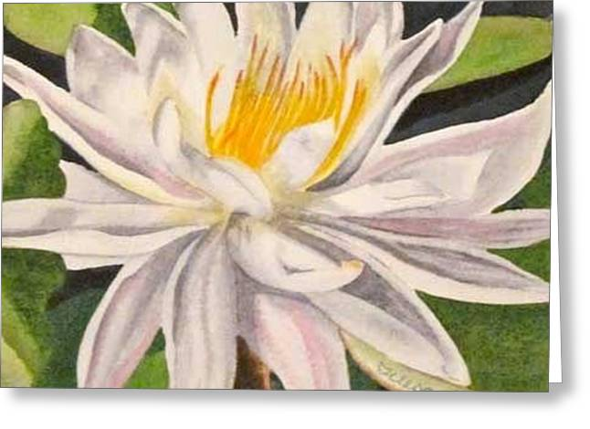 Greeting Card featuring the painting Lotus by Teresa Beyer