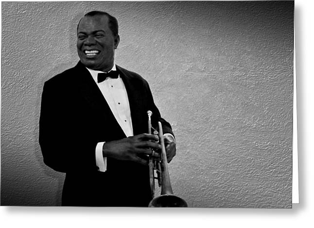 Louis Armstrong Bw Greeting Card by David Dehner