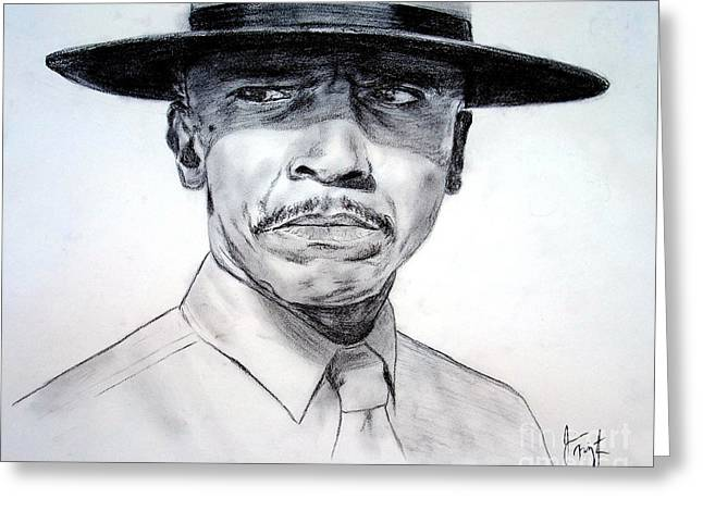 Louis Gossett Jr In An Officer And A Gentleman Greeting Card by Jim Fitzpatrick