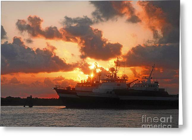 Louisiana Sunset In Port Fourchon Greeting Card