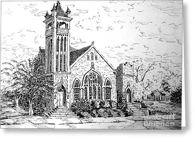 Greeting Card featuring the drawing Louisianna Church 1 by Gretchen Allen