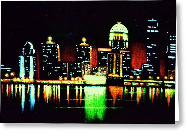 Louisville In Black Light Greeting Card by Thomas Kolendra