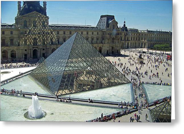 Lourve Reflections Greeting Card by Maggie Cruser