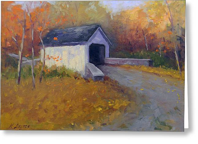 Loux Covered Bridge In Bucks County Greeting Card by Kit Dalton