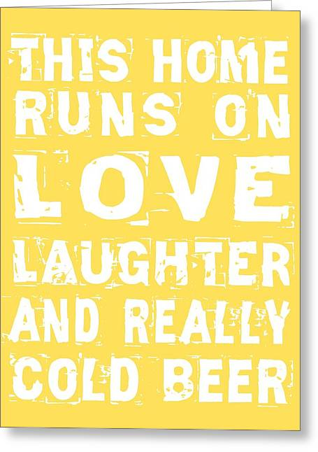 Love And Cold Beer Poster Greeting Card by Jaime Friedman