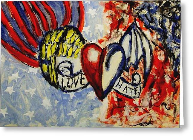 Love And Hate Angel And Devil American Hearts And Flags With Wings And Stars Greeting Card