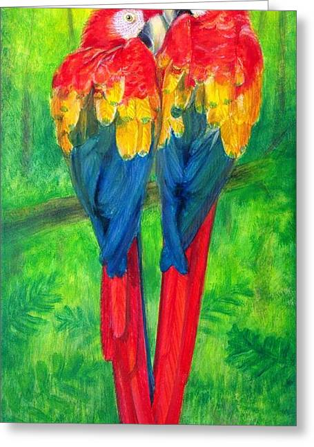 Love Birds- Macaw Parrots Greeting Card