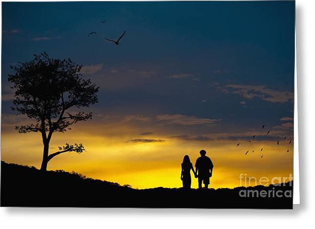 Love Couple Silhouette At Sunset Greeting Card by Andre Babiak
