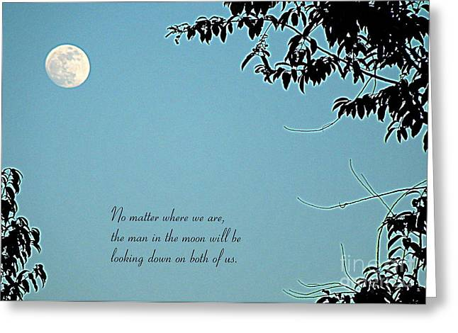 Love Notes Man In The Moon Greeting Card by Renee Trenholm