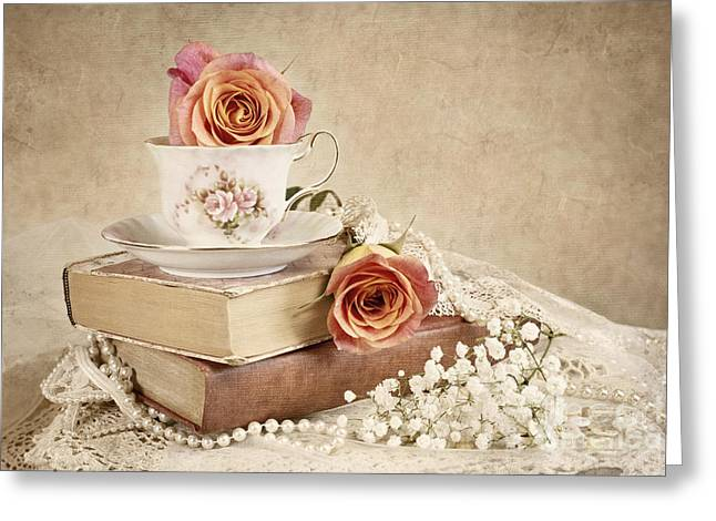 Saucer Peach Greeting Cards - Love Of Vintage Books Greeting Card by Cheryl Davis