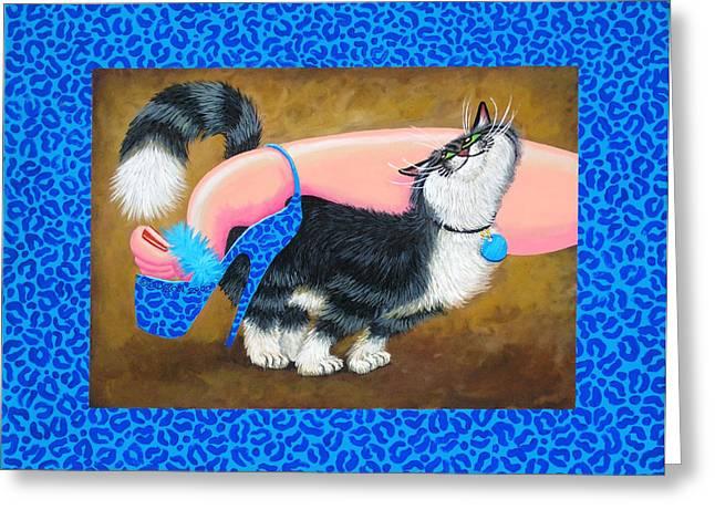 Love Pump Blue Greeting Card by Baron Dixon