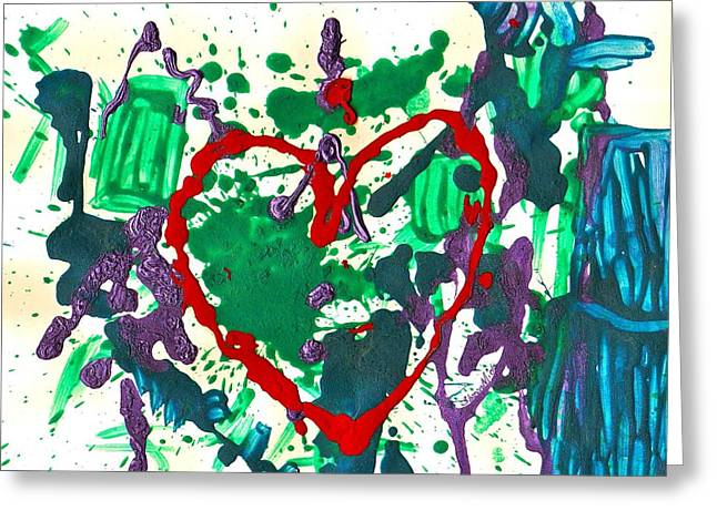 Greeting Card featuring the painting Love Survives A Trashy Time by Sharon Mick