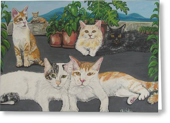 Lovely Cats Greeting Card by Paintings by Gretzky