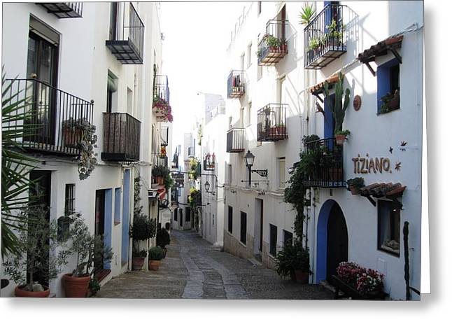 Lovely Narrow Street And Balconies Decorated With Plants In Peniscola Spain Greeting Card