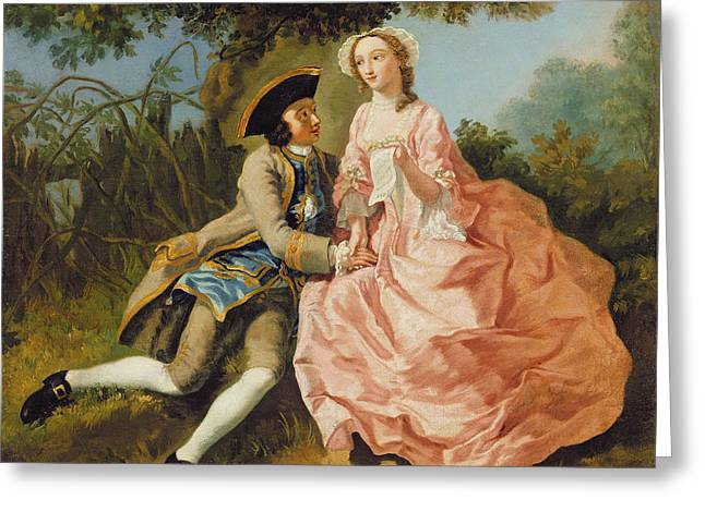 Lovers In A Landscape Greeting Card by Pieter Jan van Reysschoot