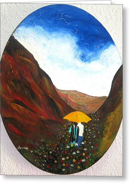 Lovers In A Valley Greeting Card by Rejeena Niaz