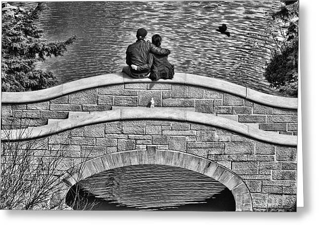 Lovers On A Bridge  Greeting Card