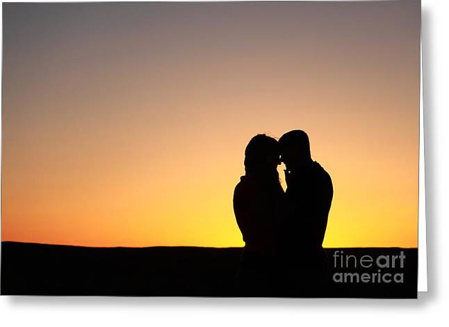 Lover's Sunset Greeting Card by Val Armstrong
